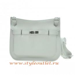 Hermes Jypsiere 28cm Togo Leather Shoulder Bag White Silver