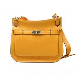 Hermes Jypsiere 28cm Togo Leather Shoulder Bag Yellow Silver