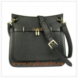 Hermes Jypsiere 34cm Leather Shoulder bag black golden