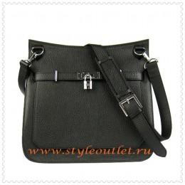 Hermes Jypsiere 34cm Leather Shoulder bag black silver