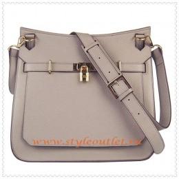 Hermes Jypsiere 34cm Leather Shoulder bag grey golden