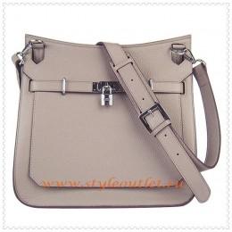 Hermes Jypsiere 34cm Leather Shoulder bag grey silver