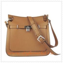Hermes Jypsiere 34cm Leather Shoulder bag light coffee silver