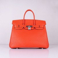Hermes 6089 Birkin 35CM Tote Bag Orange Clemence Leather Silver