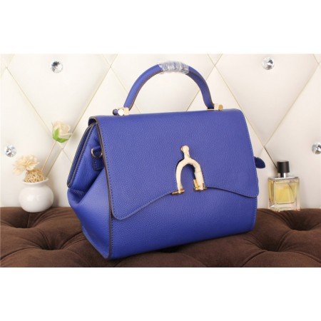 New Arrives Hermes 8065 Calf Leather Mini Top Handle Bag - Blue