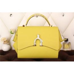 New Arrives Hermes 8065 Calf Leather Mini Top Handle Bag - Yellow