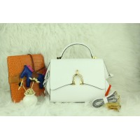 New Arrives Hermes 8065 Calf Leather Mini Top Handle Bag - White