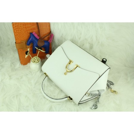 New Arrives Hermes 8065 Calf Leather Mini Top Handle Bag - White