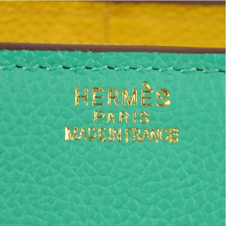Hermes Stirrup Mini Top Handle Green Yellow Rosy Bag