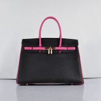 Hermes 6089 Birkin 35CM Tote Bags Black and Pink Leather Gold