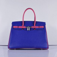 Hermes 6089 Birkin 35CM Tote Bags Navy Blue and Pink Leather Silver