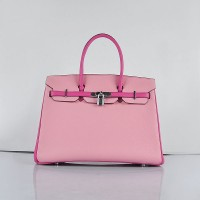 Hermes 6089 Birkin 35CM Tote Bags Pink Leather Silver