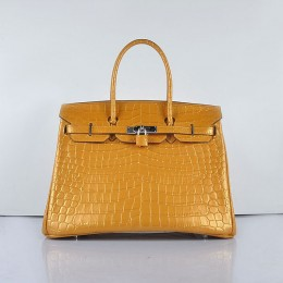 Hermes Birkin 35Cm Crocodile 6089 Head Stripe Yellow Bags Pearly Pink Silver