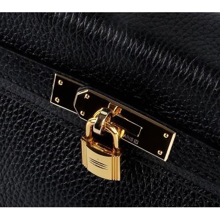 Hermes Kelly 28Cm Togo Leather Handbag Black Gold