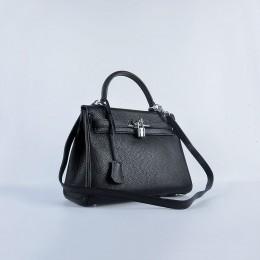 Hermes Kelly 28Cm Togo Leather Handbag Black Silver