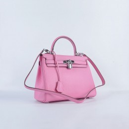 Hermes Kelly 28Cm Togo Leather Cherry Pink Silver