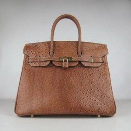 Hermes Birkin 35CM Ostrich Stripe Chocolate Gold