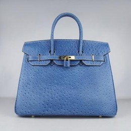 Hermes Birkin 35CM Ostrich Stripe Medium Blue Gold