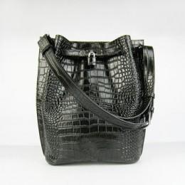 Hermes So Kelly 24cm Crocodile vein Shoulder Bag black Silver