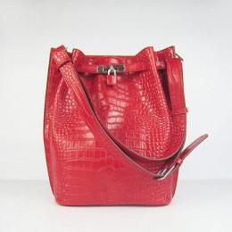 Hermes So Kelly 24cm Crocodile vein Shoulder Bag red Silver