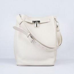 Hermes So Kelly 24cm Nappa Leather Shoulder Bag beige Silver
