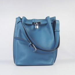 Hermes So Kelly 24cm Nappa Leather Shoulder Bag blue Silver