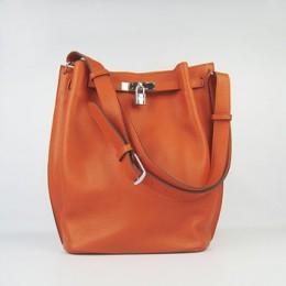 Hermes So Kelly 24cm Nappa Leather Shoulder Bag orange Silver