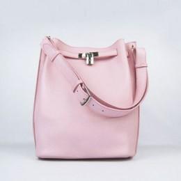 Hermes So Kelly 24cm Nappa Leather Shoulder Bag pink Silver
