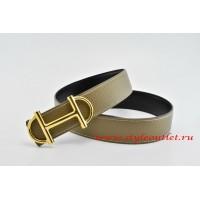 Hermes Anchor Chain Leather Reversible Gray/Black Belt 18k Gold Buckle