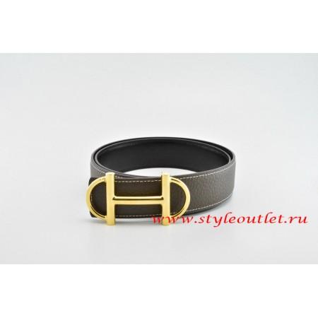 Hermes Anchor Chain Leather Reversible Brown/Black Belt 18k Gold Buckle