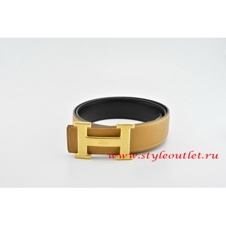Hermes Classics H Leather Reversible Light Coffee/Black Belt 18k Gold With Logo Buckle