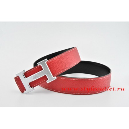 Hermes Classics H Leather Reversible Red/Black Belt 18k Silver With Logo Buckle