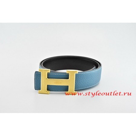 Hermes Classics H Leather Reversible Blue/Black Belt 18k Gold With Logo Buckle