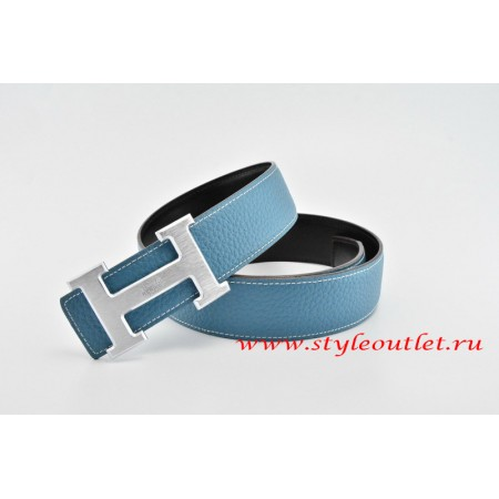 Hermes Classics H Leather Reversible Blue/Black Belt 18k Silver With Logo Buckle