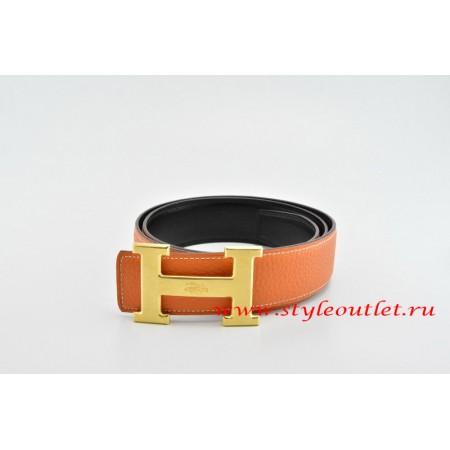 Hermes Classics H Leather Reversible Orange/Black Belt 18k Gold With Logo Buckle