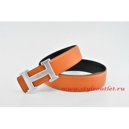Hermes Classics H Leather Reversible Orange/Black Belt 18k Silver With Logo Buckle