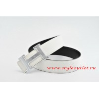 Hermes Classics H Leather Reversible White/Black Belt 18k Silver With Logo Buckle