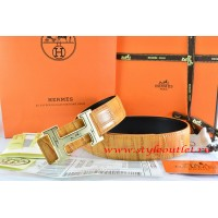 Hermes Orange/Black Crocodile Stripe Leather Reversible Belt 18K Gold Geometric Stripe H Buckle