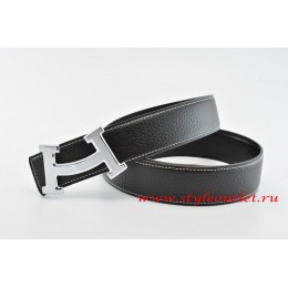 Hermes Fashion H Leather Reversible Black/Black Belt 18k Silver Buckle
