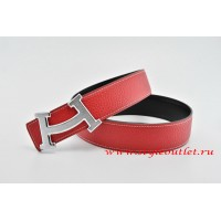 Hermes Fashion H Leather Reversible Red/Black Belt 18k Silver Buckle