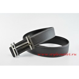 Hermes H au Carré Leather Reversible Black/Black Belt 18k Silver Buckle