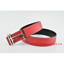 Hermes H au Carré Leather Reversible Red/Black Belt 18k Silver Buckle