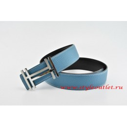 Hermes H au Carré Leather Reversible Blue/Black Belt 18k Silver Buckle