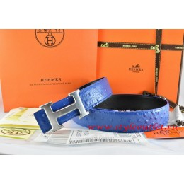 Hermes Blue/Black Ostrich Stripe Leather Reversible Belt 18K Drawbench Silver H Buckle