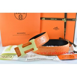 Hermes Orange/Black Ostrich Stripe Leather Reversible Belt 18K Gold H Buckle