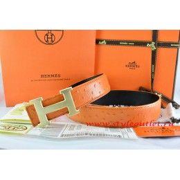 Hermes Orange/Black Ostrich Stripe Leather Reversible Belt 18K Drawbench Gold H Buckle