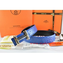 Hermes Blue/Black Ostrich Stripe Leather Reversible Belt 18K Gold H au Carre Buckle