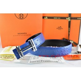 Hermes Blue/Black Ostrich Stripe Leather Reversible Belt 18K Silver H au Carre Buckle