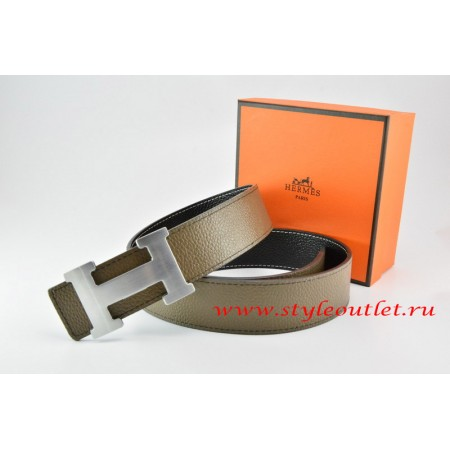 Hermes Light Gray/Black Leather Men/Women Reversible Belt 18k Silver H Buckle