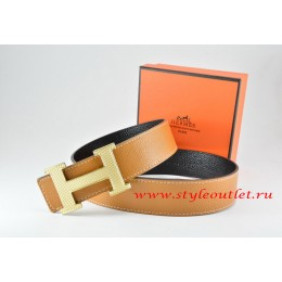 Hermes Light Coffe/Black Leather Men Reversible Belt 18k Silver Wave Stripe H Buckle